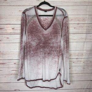 Seven7 Long Sleeve Burnout Tee Size XL
